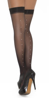 Rhinestone Backseam Thigh Highs