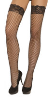 Fence Net Thigh Highs with Silicone Lace Top