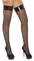 Vinyl Top Fishnet Thigh High Stockings