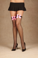 Spider Bow Diamond Net Thigh Highs