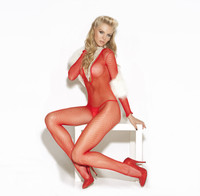 Red Deep V Fishnet Bodystocking