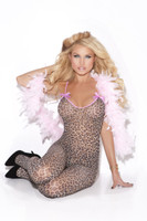 Leopard Bodystocking with Satin Bows
