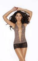Leopard Mini Dress with Lace Mini Skirt