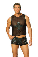Mesh Tank Top with Leather Cross