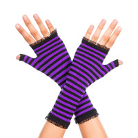 Striped Fingerless Gloves with Ruffles
