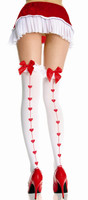 Ruffle Top Thigh Highs with Heart Print Backseam