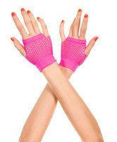 Wrist Length Fingerless Net Gloves