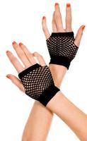 Wrist Length Fingerless Net Gloves