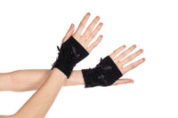 Fingerless Gloves with Satin Lace