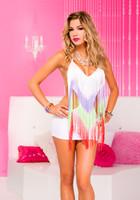 Rainbow Fringe White Mini Dress