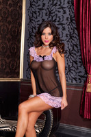 Black Mesh Chemise with Pink Lace Trim