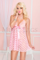 Mesh Polka Dot Babydoll with G-String