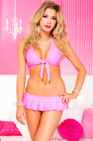 Tie Front Top and Pleated Mini Skirt Set