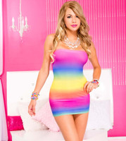 Rainbow Tube Mini Dress