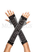 Striped Lace Up Arm Warmers