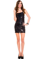 Black Zigzag Sequin Mini Dress