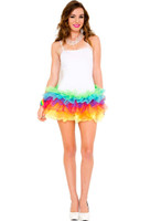 Rainbow Bottom Tutu Mini Dress