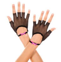 Fishnet Gloves with Satin Bow Wristband