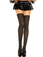 Opaque Dotted Faux Thigh High Pantyhose