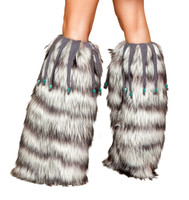Furry Leg Warmers with Beaded Fringe