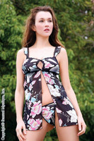 Black and Pink Floral Print Babydoll
