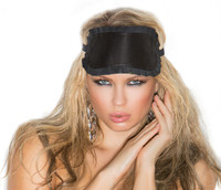 Ruffle Trimmed Leather Blindfold