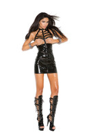 Vinyl Caged Halter Cupless Mini Dress