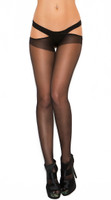 Sheer Criss Cross Suspender Pantyhose