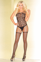 Strappy Abstract Pattern Bodystocking