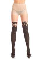 Nude and Black Skull and Crossbone Pantyhose