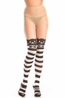 Striped Opaque Bowtie Kitty Pantyhose