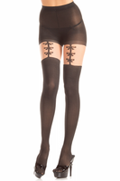 Opaque Pantyhose with Faux Bow Garters and Thigh Highs
