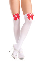 White Nurse's Thigh Highs with Red Bow and Cross Patch