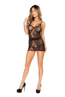 Mesh and Lace Chemise and G-String Set