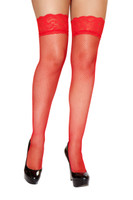 Red Fishnet Lace Top Thigh Highs with Silicone Band