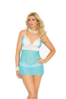 Blue Lace and Mesh Babydoll and Thong Set