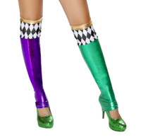 Green and Purple Mismatch Jester Stockings