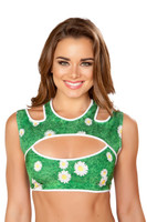 Cutout Graphic Print Crop Top