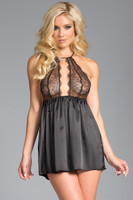 Lace and Satin Keyhole Halter Babydoll and Panty