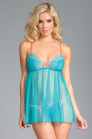 Sheer Mesh and Lace Babydoll and G-String
