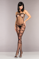 Opaque Spaghetti Straps Floral Design Bodystocking