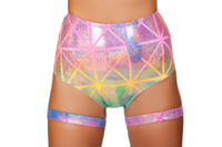 High Waisted Rainbow Laser Shorts