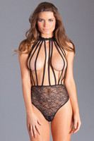 Caged Cupless High Waisted Lace Teddy
