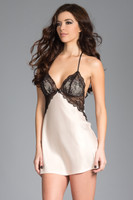 Strappy Satin and Lace Overlay Chemise