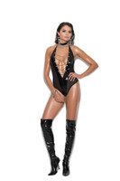 Vinyl, Fishnet and Chain Halter Teddy