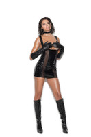 Vinyl and Fishnet Cupless Mini Dress