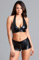 Leatherette Halter Bralette and Shorts Set