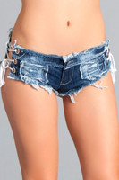 Micro Lace Up Sides Cut Off Jean Shorts