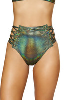 High Waisted Lace-Up Iridescent Shorts