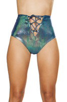 High Waisted Iridescent Lace-Up Shorts